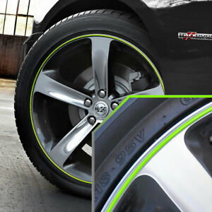 Wheel Bands Neon Green In Silver Pinstripe Rim Trim For Dodge Charger Full Kit