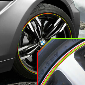 Wheel Bands Neon Green In Red Pinstripe Rim Edge Trim For Bmw M6 Full Kit
