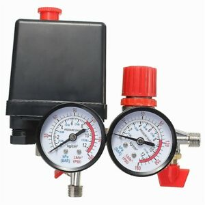 Air Compressor Pressure Valve Switch Manifold Relief Regulator Gauges 0 180psi 2