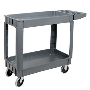 2 Tier 550lbs Rolling Serving Cart Utility Steel Cart Shelves Kitchen Storage