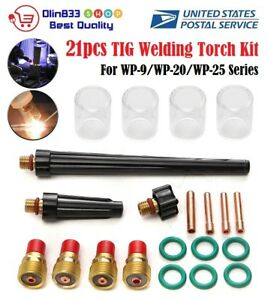 21pcs Tig Welding Torch Gas Lens 10 Pyrex Glass Cup Kit For Wp 9 20 25 Series