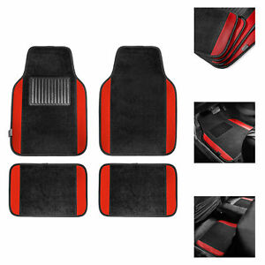 4pcs Carpet Floor Mats For Car Suv Auto Suv Van Motors Full Set Red Black