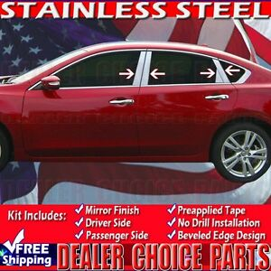 For 2013 2014 2015 2016 2017 2018 Nissan Altima Stainless Steel 8pc Pillar Posts