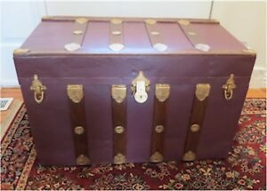 Vintage Antique Flat Top Steamer Trunk Metal Wood With Tray