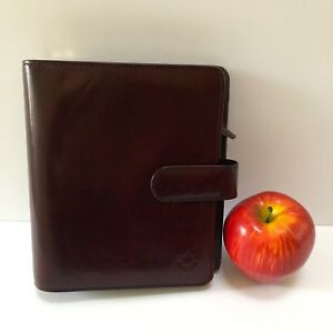 Franklin Covey Compact Red Full Grain Leather Planner Binder 6 Ring Organizer