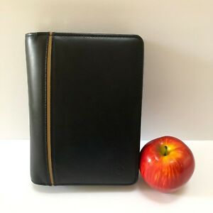 Franklin Covey Compact Full Grain Leather Planner Binder 6 Ring Organizer Zip