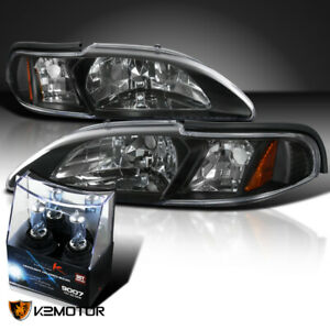94 98 Ford Mustang Black 1pc Style Headlights Signal Lamp 9007 Bulbs