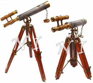 Antique Brass Telescope Leather Vintage Double Barrel Scope With Wooden Tripod