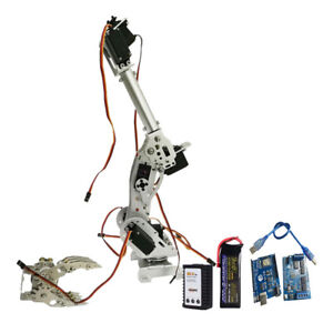 Wifi Metal 8dof Robot Arm Gripper Kit 15kg cm Servo Power Suite Silver