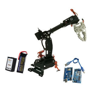 Wifi Metal 8dof Robot Arm Gripper Kit 3316 Servo Power Suite Black