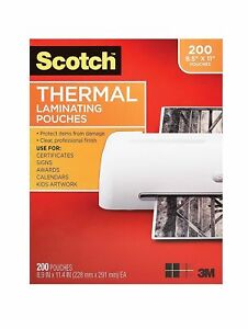 Scotch Thermal Laminating Pouches 8 9 X 11 4 inches 3 Mil Thick 200 pack Clear
