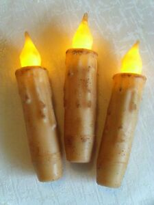 3 Cream 4 Grungy Led Timer Primitive Battery Taper Candles Rustic Country