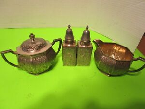 Antique Silverplate 4pcs C S And S P Derby Silver Co 1130 Dutch Windmills