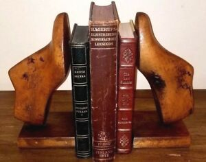 Antique Wooden Shoe Mold Book Ends American Great Patina Rare