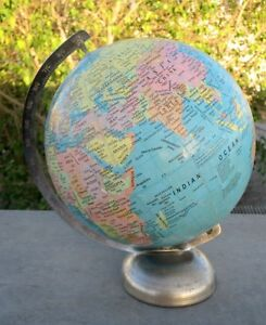 Vintage Old Collectible Rare Unique Litho Print World Map Globe Atlas On Stand