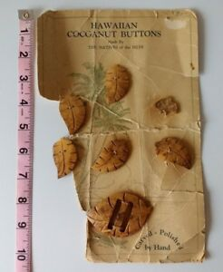 Vintage Hawaiian Coccanut 7 Buttons On Original Card See Description