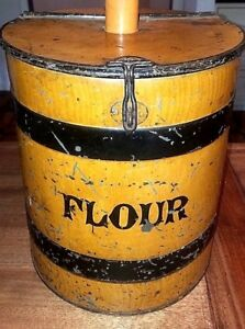 Beautiful Antique Metal Toleware Lamp Flour Bin Canister