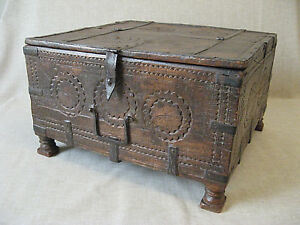 17th Century Indian Spice Box Carved Oak With Iron Fittings