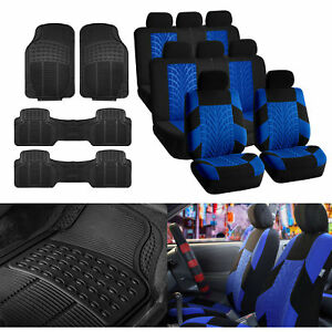 3 Row Suv Van Blue Seat Covers 8 Seaters With Black Floor Mats Toyota Ford Gmc
