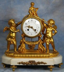 French White Carrara Marble Bronze Dore Ormolu And Crystal Clock 19th Century