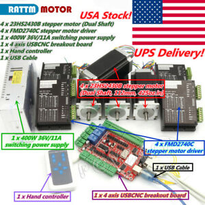 Usb Cnc 4 Axis Controller Kit Nema23 Stepper Motor Dual Shaft 425oz in