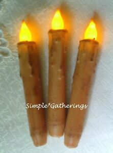 Grungy Ivory Timer Taper Candles 6 5 Set Of 3 Beeswax Led Primitive Farmhouse