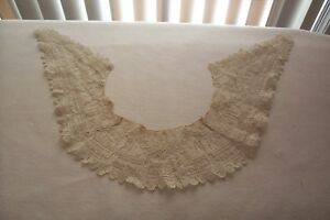 Vtg Early Antique Victorian Lace Collar With Ornate Design With Raised Threads