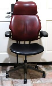 Guc Humanscale High back Ergonomic Freedom Chair In Burgundy Black Leather