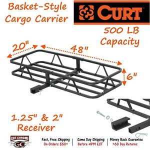 18145 Curt Steel Basket Style Cargo Carrier With 500lb Cap For 1 25 2 Receiver