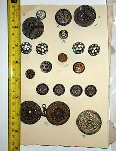 Lot 20 Antique Buttons Metal Rhinestone Ceramic Hand Painted