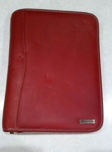 Franklin Covey Classic Red Burgandy Leather Planner Organizer Zipper Binder
