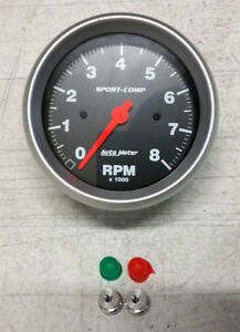 Sale Auto Meter Sport Comp In Dash Electric Tachometer 3 3 8 8000 Rpm Tach