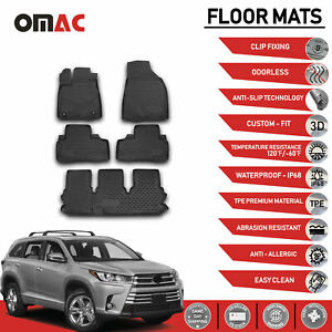 Floor Mats Liner 3d Molded Black Fits 7 Seat 3 Row Toyota Highlander 2014 2020