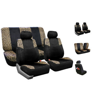 Leopard Car Seat Covers Brown For Auto Full Set 2 Headrests