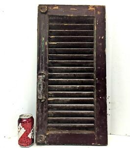 Single 24x12 Antique Wood House Shutter Louvered Vintage Painted Old Farmhouse