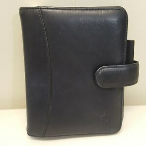 Franklin Covey Planner Binder Black Full Grain Nappa Leather Compact 6 Rings