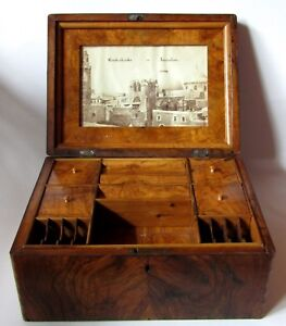 Antique Early Large Olive Wood Jerusalem Palestine Wooden Box Photograph