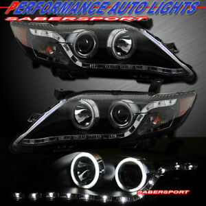 Set Of Pair Black Ccfl Halo Headlights W Led Parking For 2010 2011 Toyota Camry