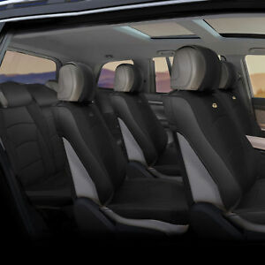 3 Row Suv Van Pu Leather Seat Cushion Covers 7 Seaters Full Set Solid Black