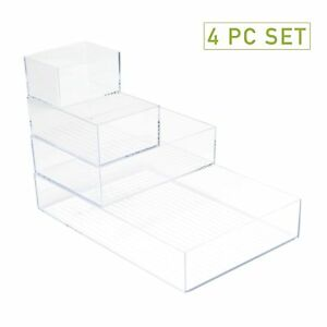 Mind Reader Acrylic 4 piece Multi size Office Supply Accessory Desk Organizer