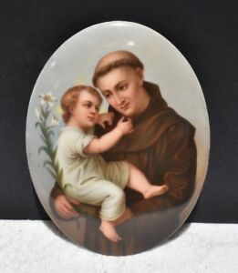 Firenze Porcelain Hand Painted Religious Monk 7 By 5 3 8 Convex Plaque Oval Kpm