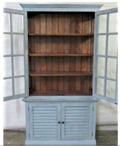Wood China Cabinet Shutter Painted Blue Boho Farmhouse Plate Cupboard Hutch