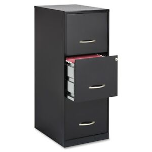 Lorell 3 Drawers Steel Vertical Lockable Filing Cabinet Black Letter