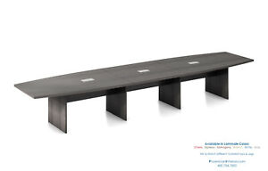 16 Foot Modern Boat Shaped Conference Table With Grommets In White And 5 Colors