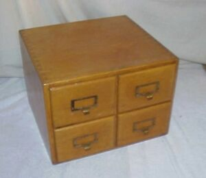4 Drawer Library Bureau Makers Card Catalog Cabinet Shaw Walker Oak Dovetail