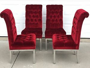Set Of 4 Mid Century Milo Baughman Highback Dining Accent Chairs
