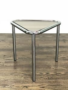 Mid Century Modern Chrome Triangular Shape Side Table In Style Of Milo Baughman