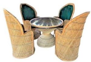 Patio Furniture Vintage Wicker Peacock Table And Chairs Set Stylish Comfortable