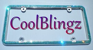 2 Row Turquoise Crystal License Plate Frame Bling Made With Swarovski Elements