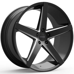4 new 22 Inch Rosso 705 Affinity 22x8 5 5x114 3 40mm Black milled Wheels Rims